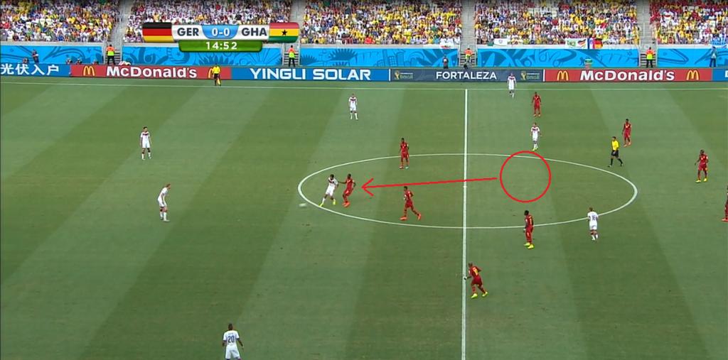 Środkowy pomocnik Ghany już przed przyjęciem piłki przez Khedirę atakuje go i zmusza do zagrania do tyłu.