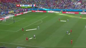 Wysoki pressing (białe linie) Girouda, Benzemy, Valbueny oraz Matuidiego na połowie przeciwnika.
