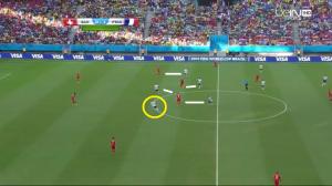 Bramkowy kontratak (na 0-2). Czwórka zawodników naciska (białe linie) na rywali na ich połowie, a centralne ustawienie Benzemy (żółte koło) umożliwi odbiór piłki w dogodnej pozycji do stworzenia zagrożenia.