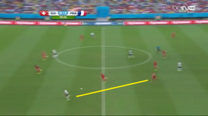 Kontratak na rzut karny przy stanie 0-2. Lichtsteiner traci piłkę i nie ma teraz żadnych szans na dogonienie (żółta linia) Benzemy.