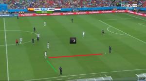 Silva nie doskakuje (czerwona linia) do Martinsa Indiego, ani nie blokuje kątu podania (zielona) do Blinda.