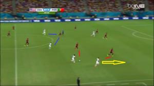 Johnson ruszył na obieg (żółta strzałka), a Almeida został tym razem na swojej pozycji. Z asekuracją zszedł na bok Veloso, doprowadzając do sytuacji 2 na 2 (czerwone linie). To otwiera jednak przestrzeń w środku, gdzie Moutinho ma przeciwko sobie dwóch rywali (niebieskie linie). Kontratak zakończy się groźnym strzałem Bradleya z dystansu.