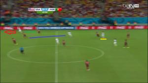 Zusi znowu wyciągnął rywala (niebieska linia), a Johnson urwał się na wolne pole (czerwona strzałka) tym razem Meirelesowi (zielona linia). Jones (podkreślony na żółto) autorem podania za plecy obrony Portugalii.