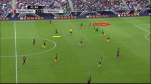 Götze związuje (zielone koło) prawego obrońcę Kamerunu i otwiera Özilowi (podkreślony żółtą linią) możliwość penetrującego podania do Reusa.