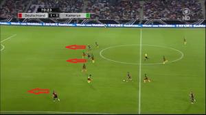 Kontratak. Podolski, Schürrle i Reus w komplecie wykonują ruch (czerwone strzałki) za linię obrony przeciwnika.