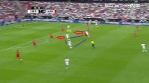 Lahm (podkreślony na żółto) znalazł się najwyżej wysuniętym zawodnikiem drużyny, przed trójką napastników (niebieskie linie). Za chwilę zarówno Schürrle, jak i Müller zaatakują głębię (czerwone strzałki).