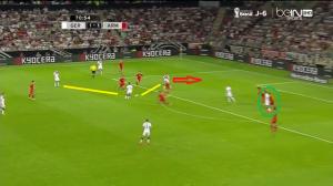 Szybkie rozegranie piłki w trójkącie (żółte linie) Kroos - Özil - Podolski, który wybiega za linię obrony. Klose (zielone koło) skupia w tym czasie na sobie uwagę obrońców w szesnastce.