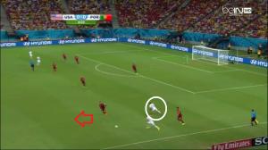 Amerykanie tracą piłkę. Ronaldo może wykorzystać przestrzeń (czerwona strzałka) pozostawioną przez Johnsona (białe koło).