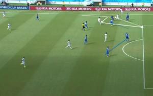 Rodriguez wbiega z głębi, zagrywa krótko piłkę i dostaje ją z powrotem w wolnej strefie, która jest otwarta przez nieudaną próbę odbioru obrońcy.