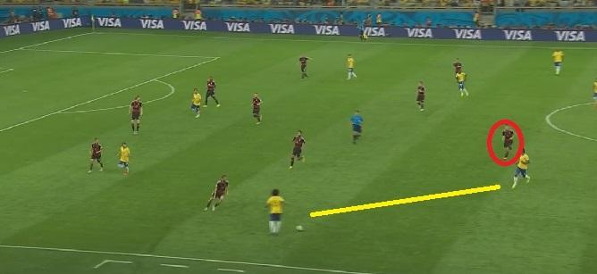 Podobna sytuacja w meczu z Brazylią. Jeden z rywali schodzi do gracza z piłką, by zapewnić opcję łatwego podania. Klose schodzi razem z nim.