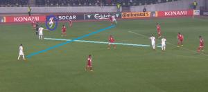 Na ciemnoniebiesko Jędrzejczyk wrzucający piłkę w pole karne. Po chwili przyjmie ją Grosicki i odda celny strzał.