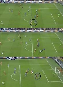 Rozwinięcie akcji, po której Everton stracił pierwszą bramkę. Znakomite zachowanie Ramireza, który poczekał z dośrodkowaniem, wyczekał i poniekąd wymusił na Bainesie złamanie linii i wyjście do przodu (na zdj. 2 Ramirez robi tylko zamach i poczeka z dośrodkowaniem). Co pozwoliło Elmohamadiemu zbliżyć się do bramki i oddać groźny strzał głową.
