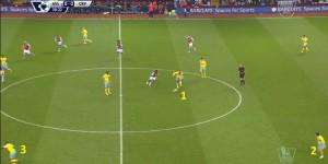 Jedna z niewielu akcji rozpoczynająca się 4 zawodnikami na połowie Aston Villa. Puncheon (1) zszedł do środka, Bolasie (3) ucieka lewym skrzydłem, po otrzymaniu piłki zabiegnie go Kelly (2) i dośrodkuje piłkę.