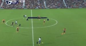 Wyprowadzanie kontrataku prawą stroną. Za głęboko schowany Ideye (1), który powinien znajdować się bliżej punktu B, nie daje opcji Sessegnon (3). Sessegnon straci piłkę w dryblingu.