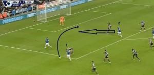 Kolejna dobra szansa Evertonu do strzelenia gola, gdy Kone (2) jest ustawiony w środku ataku. Baines (1) zagra groźną piłkę do ścinającego Kone, ale Coloccini zrehabilituje się za błąd w pierwszej połowie i uniemożliwi oddanie precyzyjnego strzału.