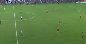 Tak mniej więcej wyglądał pressing w wykonaniu zawodników West Bromwich.