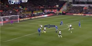 Gol na 4:2 Hazarda, Fazio traci piłkę na swojej połowie, jest spóźniony. Fabregas skupia na sobie uwagę Vertonghena i asekurującego Dembele. Hazard wbiega w wolną przestrzeń pozostawioną w środku pola karnego. Na lewej stronie nie ma Rose'a.
