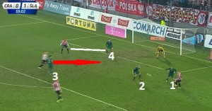 Dudu (3)znowu spóźniony- do asekuracji jego strony zeszli Pawelec (2) i Celeban (1). Brazylijczykowi nie uda się odwdzięczyć kolegom tym samym i napastnik Cracovii sięgnie piłki.