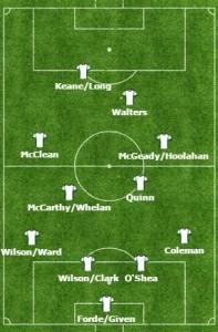 Potencjalny skład Irlandczyków. Wracający po kontuzji McGeady nie do końca pewny występu, kilka opcji w pomocy (ale bez kontuzjowanych Hendricka i Gibsona). Keane lub Long alternatywą w ataku.