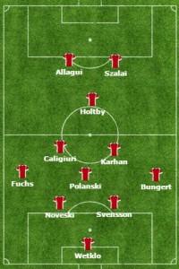 Mainz w wyjazdowym zwycięstwie nad Bayernem (2-1) w sezonie 2010/11
