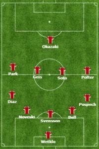 Mainz w meczu z Augsburgiem (1:2) w sezonie 2013/14